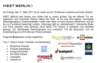 MEET BERLIN Invitation to the site inspection
